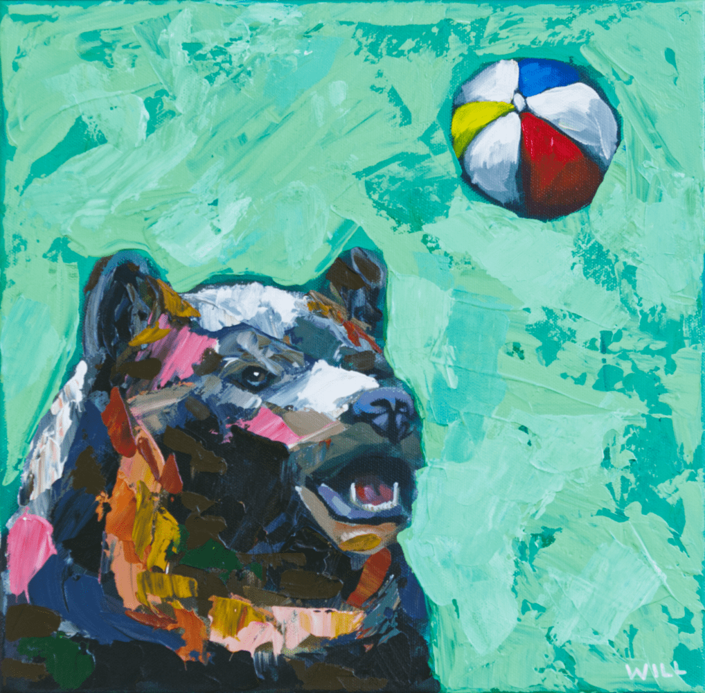 Beach Ball Bear animal artist art painting wildlife beach ball fun whimsical artwork athens georgia funny Will Eskridge