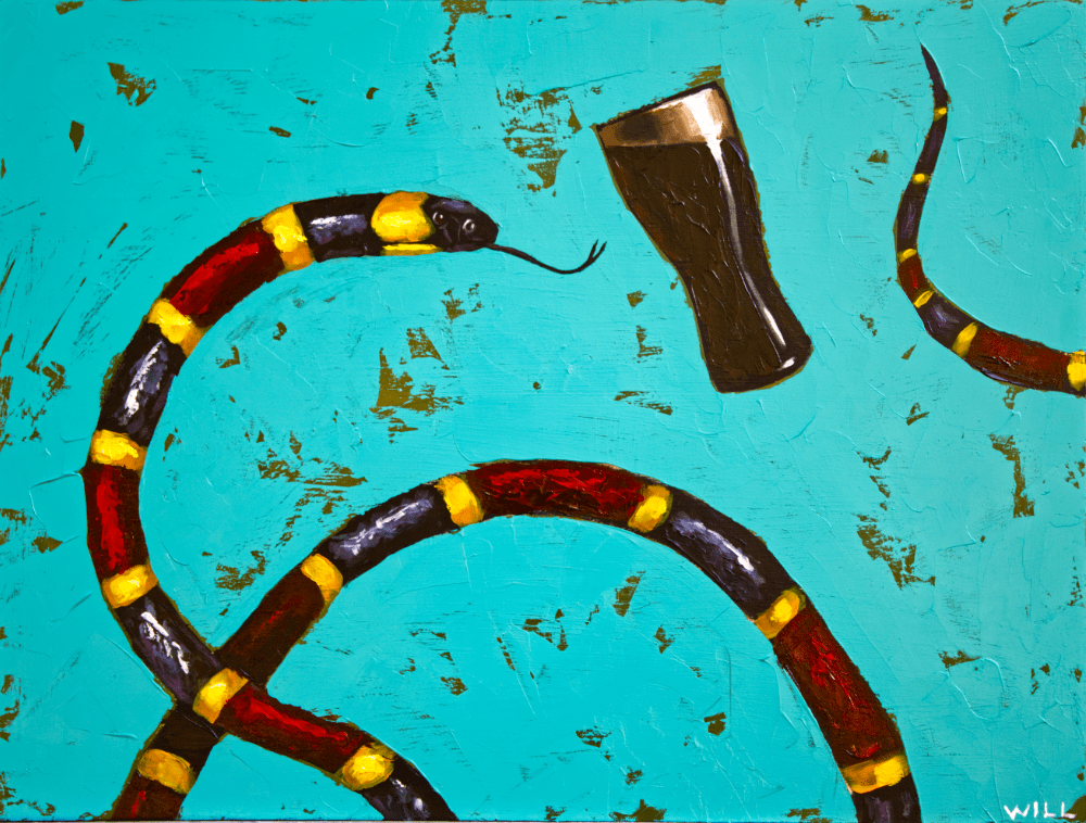 Stout Coral snake beer pop funny outcast animal artist rock n roll wildlife painting Will Eskridge Athens Georgia