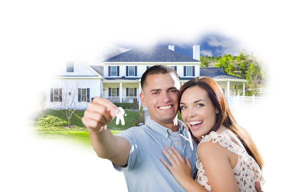 Military Couple with Keys Over House Photo in Cloud on White Background.