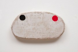 black_and_red_circles_on_white_shape__acrylic_on_linen__11x21.5x3