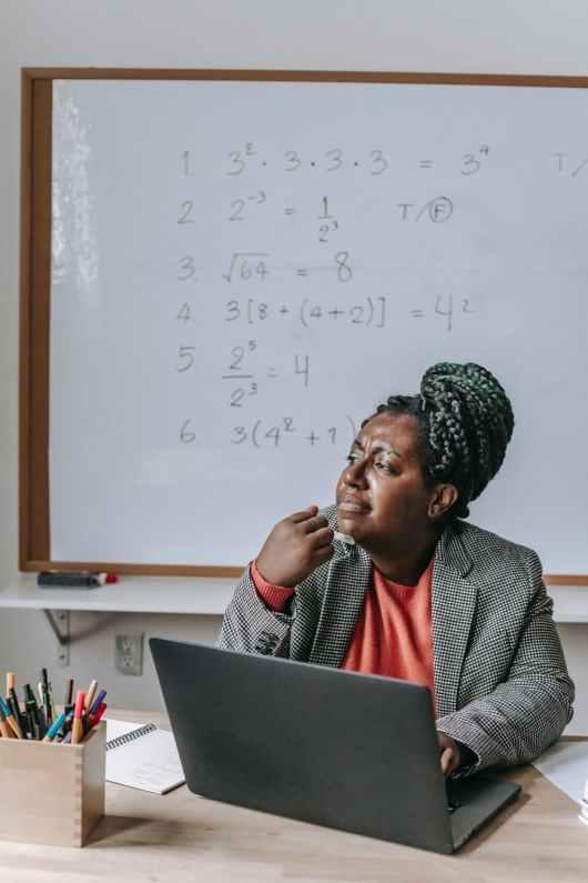 black teacher thinking while working