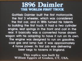 Image of a sign describing 1896 Daimler Truck
