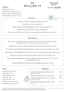 William IV pub London sandwich menu