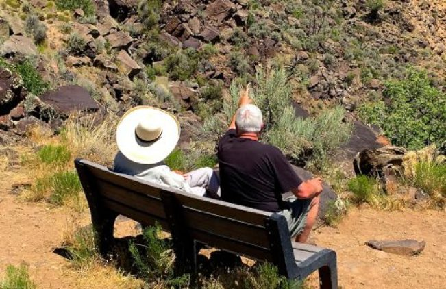 B ill & Justus on Vista Verde Trail bench 7-4-16