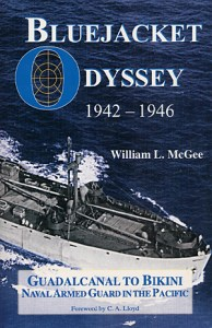 "Cover and buy button for ""Bluejacket Odyssey, 1942-1946: Guadalcanal to Bikini"" by William L. McGee."