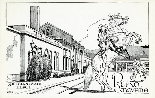 Reno divorce postcard with artwork by Lew Hymers, 1945