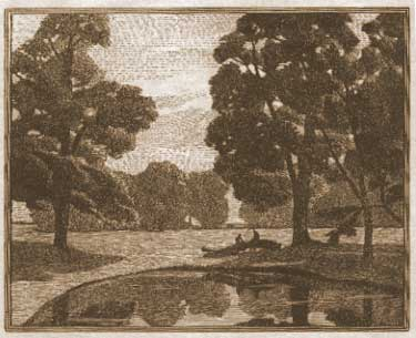 Elms by a Pond (wood engraving) Gwen Raverat 1917