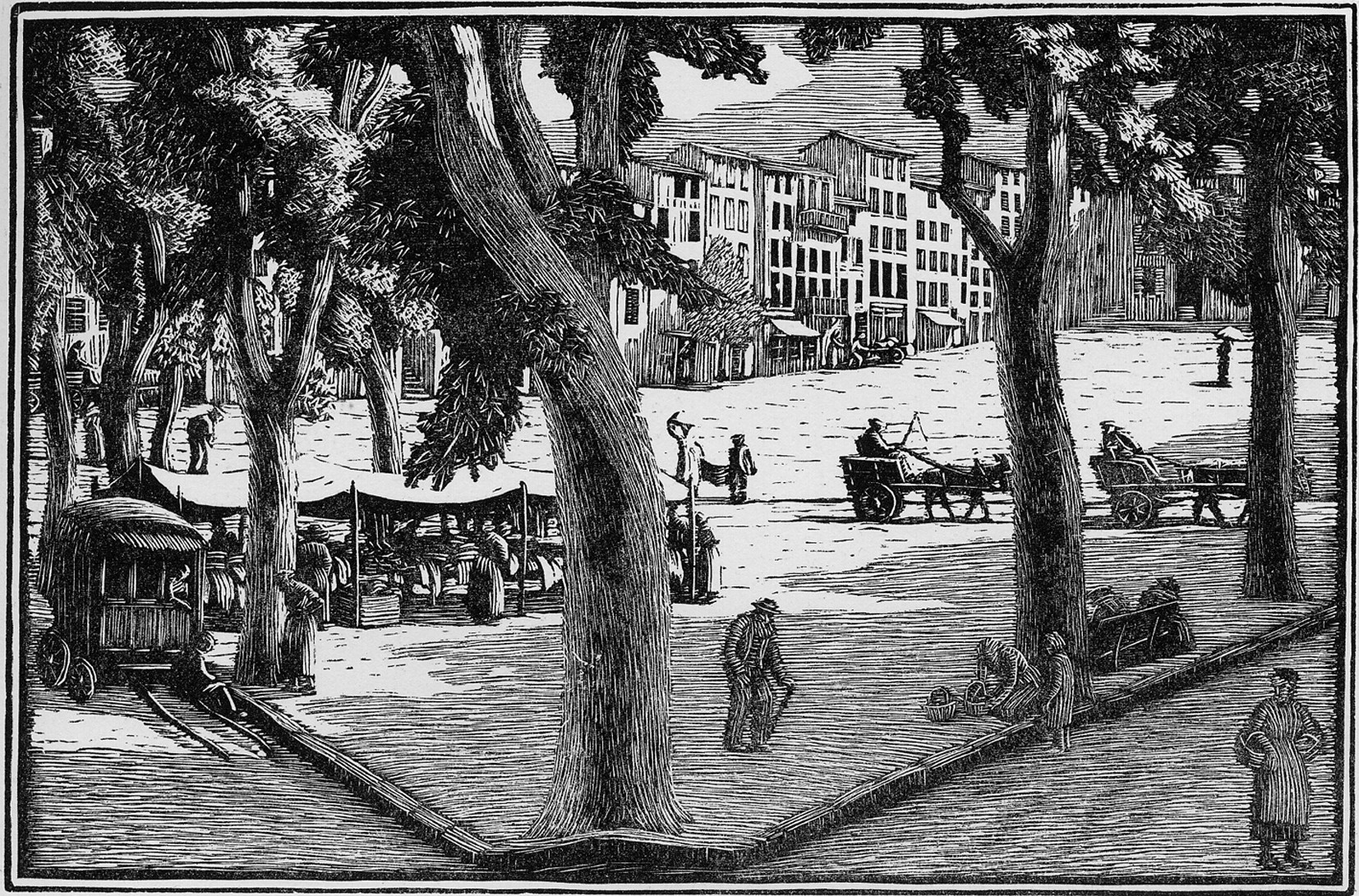 Vence - the Square in Summer (wood engraving, Gwen Raverat, 1924)