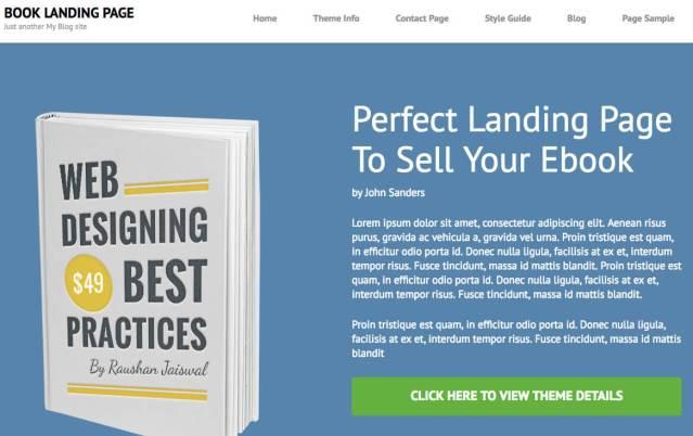 free landing page wordpress theme book