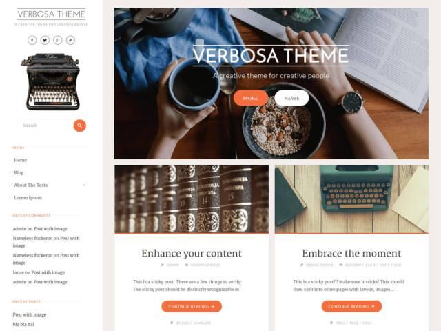 free wordpress blog theme verbosa