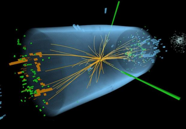 Candidate Higgs boson event from collisions between protons in the CMS detector on the LHC. From the collision at the centre, the particle decays into two photons (dashed yellow lines and green towers) (Image: CMS/CERN)