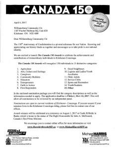Canada 150 Awards Kitchener