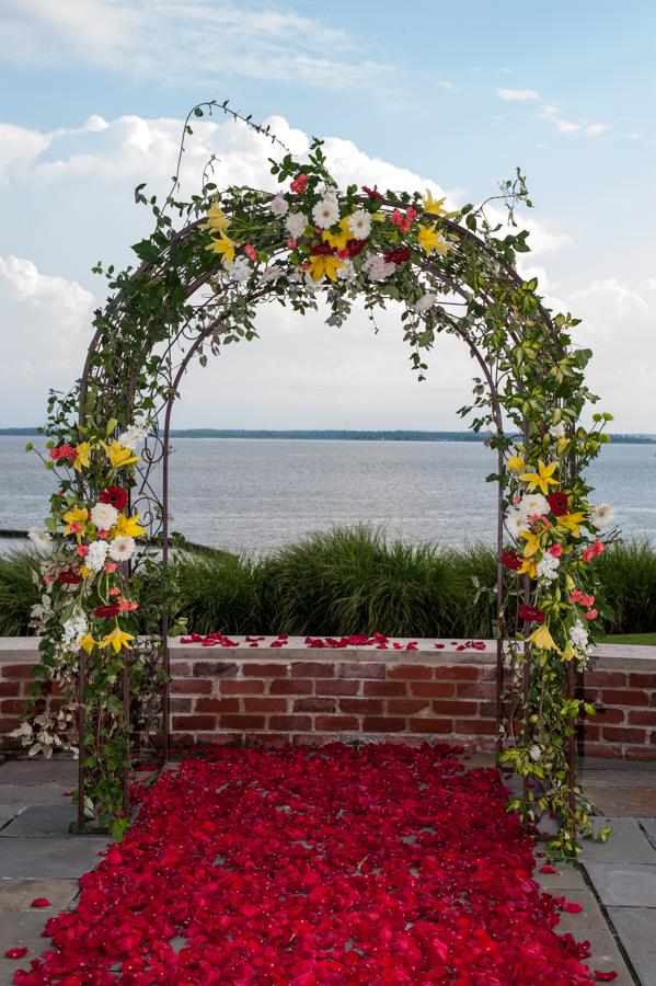 Mixed Flower Wedding Arch Petal Aisle Williamsburg Floral