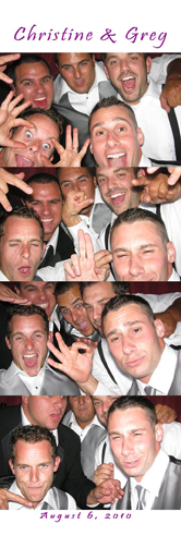 Guys having fun posing for a group photo in the Williamsburg Photo Booth