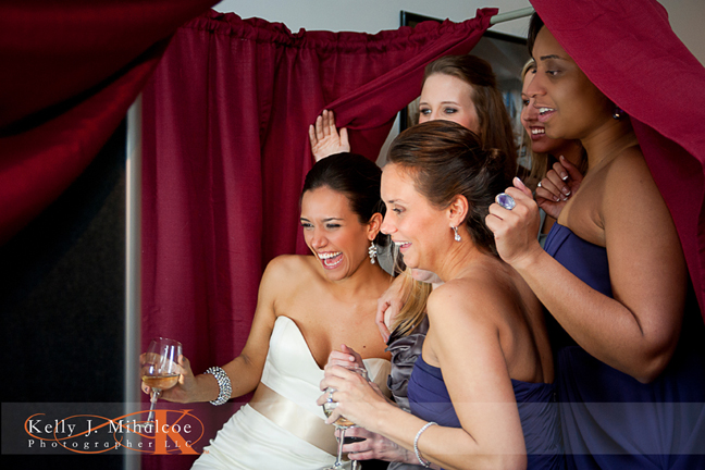 Bride and her Bridesmaids having fun posing for photos in the Williamsburg Photo Booth