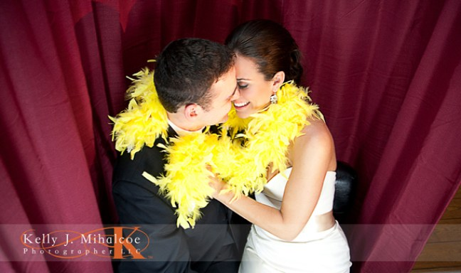 Bride & Groom enjoying a fun moment alone in the Williamsburg Photo Booth