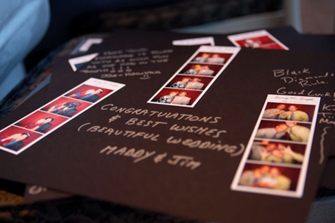 Handwritten messages next to the photo booth strips the guests have put into a ScrapBook with Williamsburg Photo Booth