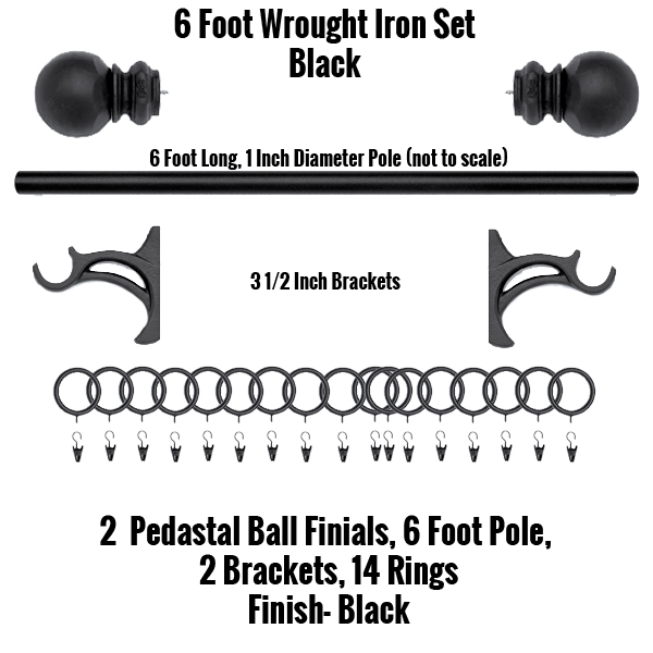 6 foot wrought iron curtain rod and finial set