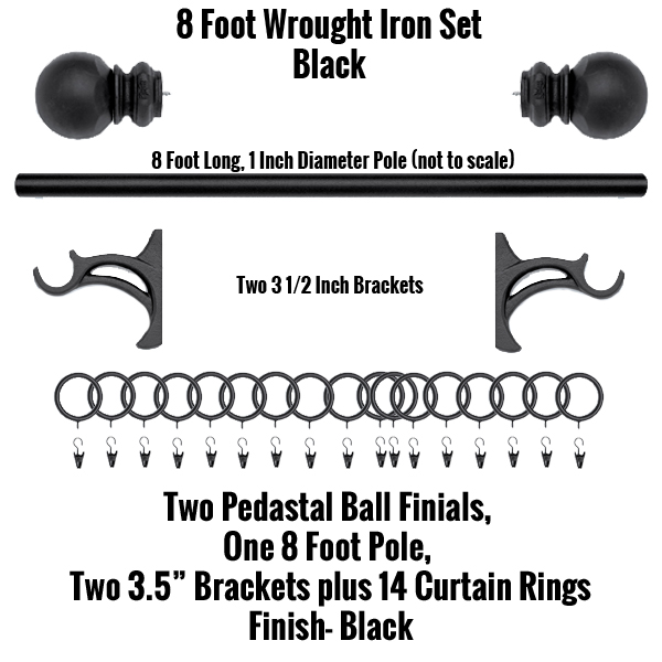 8 foot wrought iron curtain rod and finial set