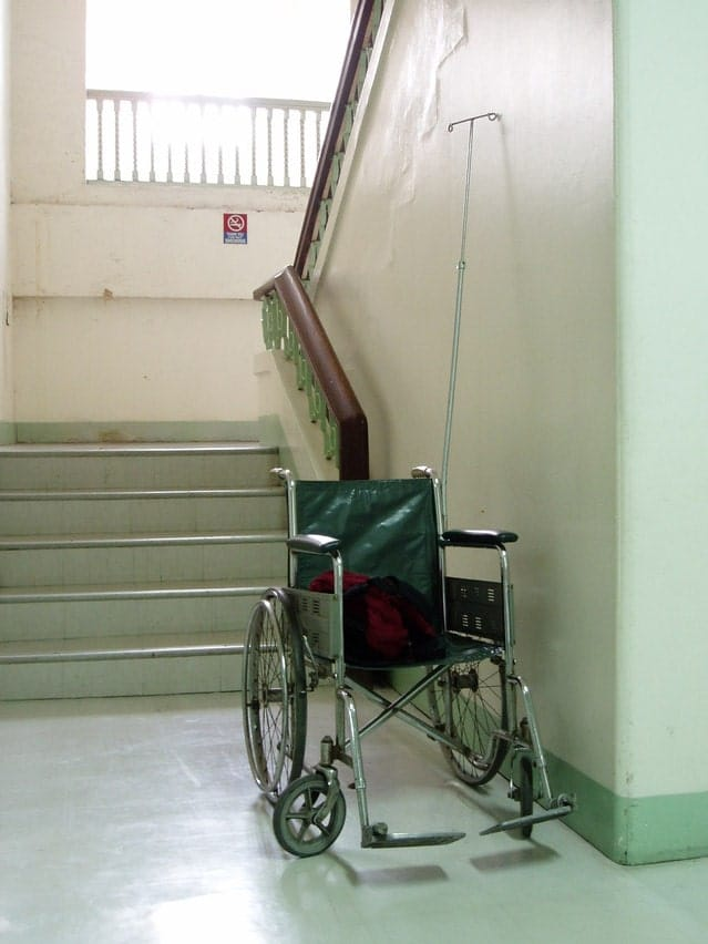 Image of an empty wheelchair for an article about stopping someone from falling out of a wheelchair.
