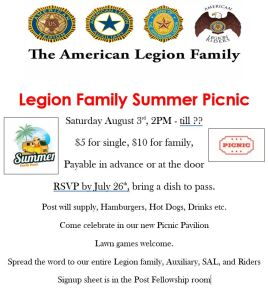 Post Family Picnic @ Post 394 Picnic Pavilion | Williamson | New York | United States