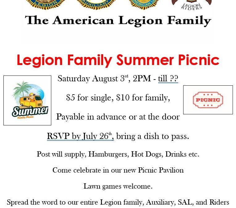 Legion Family Picnic August 3rd