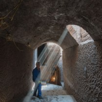 Shafts of daylight in one of the passages near the surface.