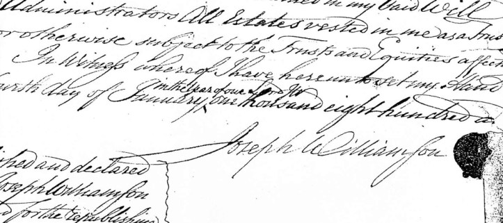Williamson's will, with his signature