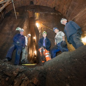 Volunteers at the mouth of the Gash from within the trench in the Banqueting Hall