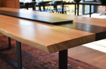 Beautiful Slab table with steel legs