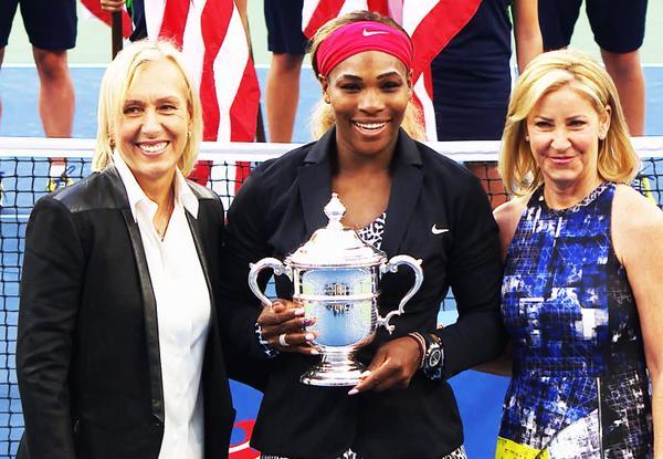 2014 US Open: Serena ties Chris Evert and Martina Navratilova with 18 Grand Slam titles.