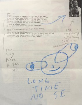Ray Johnson correspondence to Joan Harrison, c. 1982