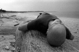 Ray Johnson, Lattingtown Beach Performance (for the camera), photo by Joan Harrison, c. 1980s (1)