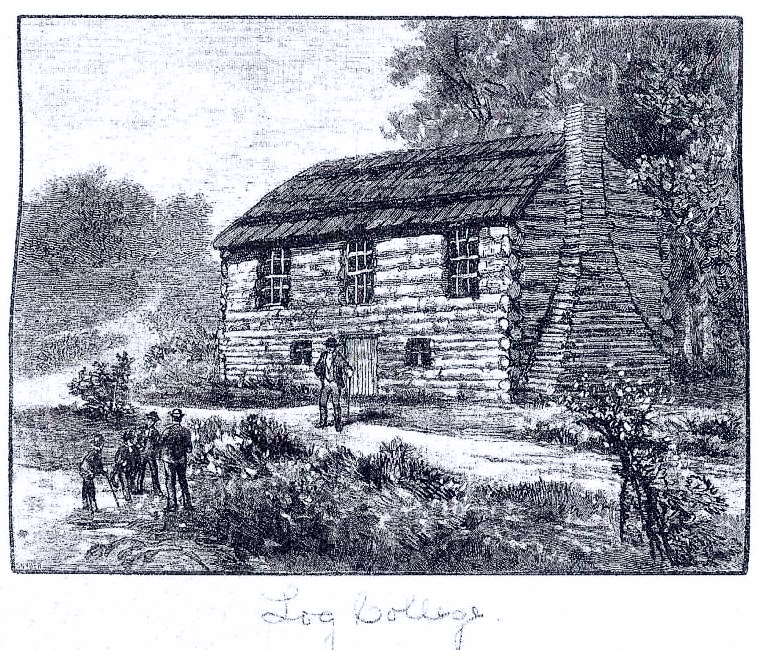 """a copy of the engraving of the Log College from an original which is in a large scrapbook described as """"Celebration of the Founding of the Log College near Hartsville, Bucks County, Penna., Thursday, September 5, 1889. By W.W.H. Davis, Doylestown, PA. 1889."""""""