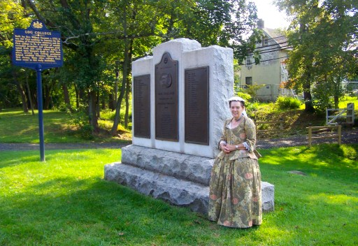 Wendy Wirsch as Mrs. Catherine Tennent standing by the Log College Monument on York Road in Warminster, Pa