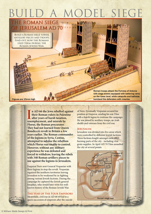 Build a Roman siege cardboard kit, personal project; research & content writing, design & illustration - InDesign, Photoshop, pen & coloured pencils, cardboard