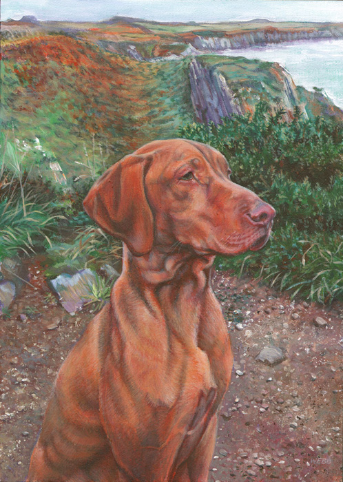 Dog portrait, private commission - acrylic on canvas