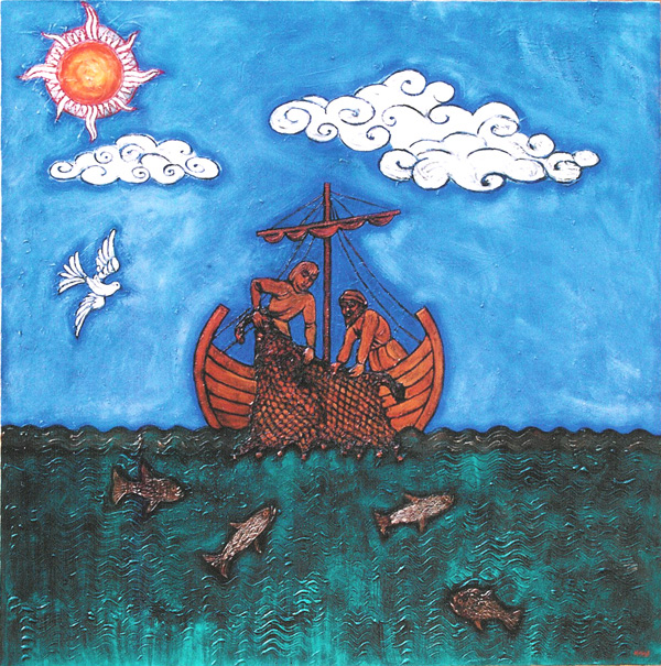 'Fishers of Men' - mixed media on canvas