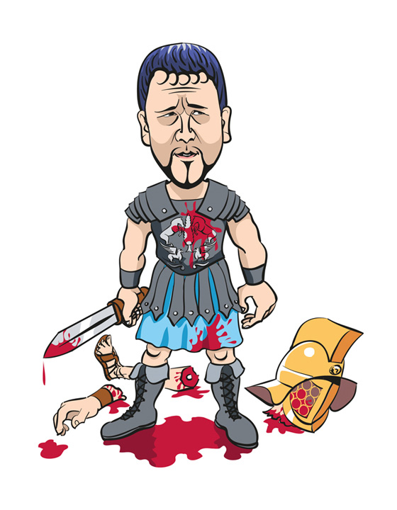 Cartoon of Russell Crowe as Gladiator, personal project - Adobe Illustrator and a Wacom tablet