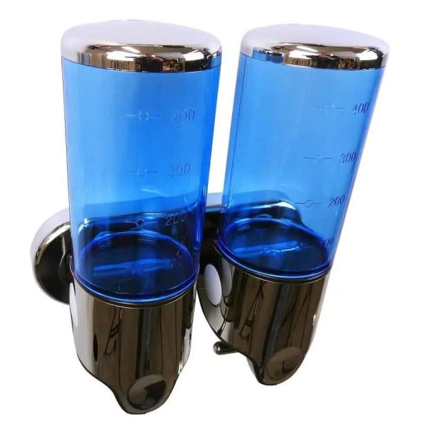 Dubbele zeep dispenser blauw met chroom 2 x 400 ml