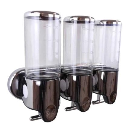 Triple zeepdispenser transparant met chroom 3 x 400 ml