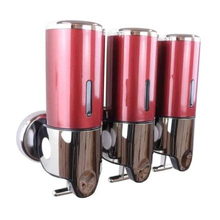 Triple zeepdispenser rood met chroom 3 x 400 ml