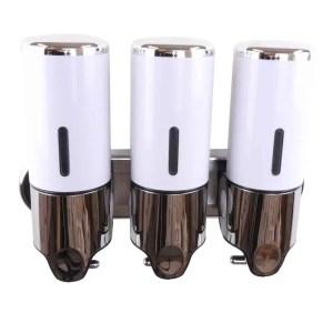 Triple zeepdispenser wit met chroom 3 x 400 ml
