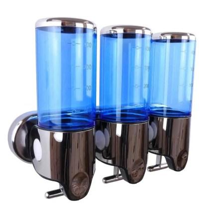 Triple zeepdispenser blauw met chroom 3 x 400 ml