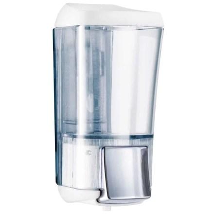 Marplast zeepdispenser A76424BL - Professionele kwaliteit - Wit met Transparant - 170 ml - Geschikt voor openbare ruimten