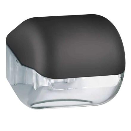 Marplast toiletpapier houder A61900NE - Zwart met transparant - geschikt voor traditionele Rollen toiletpapier