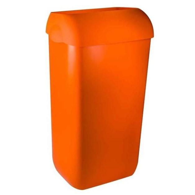 WillieJan Marplast afvalbak - Oranje - 23 liter - met hidden cover - muurbevestiging of vrijstaand