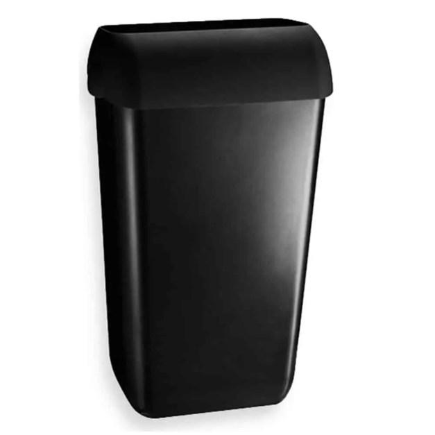 WillieJan Marplast afvalbak - Zwart - 23 liter - met hidden cover - muurbevestiging of vrijstaand