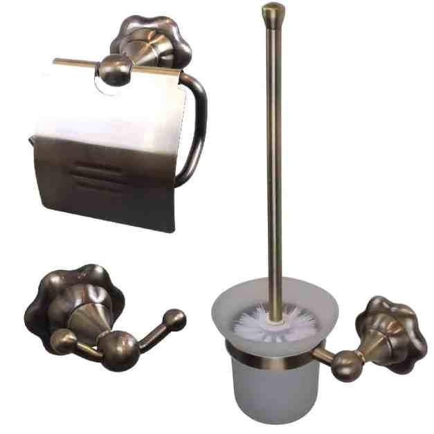 WillieJan Toilet set 9590 - Aniek Look Bronskleurig Messing - Set; Toiletrolhouder, Toiletborstel en Handdoek haak