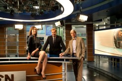 Emily Mortimer, Jeff Daniels and Sam Waterston photographed at the News Night anchor desk